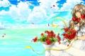Картинка море, взгляд, девушка, цветы, улыбка, art, хеталия и страны оси
