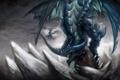 Картинка скалы, крылья, драконы, арт, пики, гигантский, пасьт