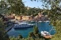 Картинка море, пейзаж, дома, бухта, яхты, Италия, гавань