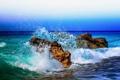Картинка море, небо, брызги, камни