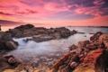 Картинка природа, скалы, волны, рассвет, море