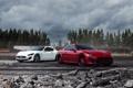 Картинка белый, небо, деревья, красный, тучи, Maserati, red