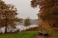 Картинка вечер, осень, озеро, скамья