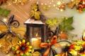 Картинка осень, цветы, настроение, коллаж, свеча, фонарь