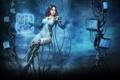 Картинка девушка, провода, sci-fi, мониторы