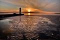 Картинка лед, солнце, закат, маяк, залив