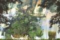 Картинка девушка, деревья, птицы, белье, черепаха, дома, растения
