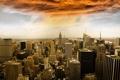 Картинка город, New York City, небоскребы, Rockefeller Center, панорамма, Manhattan