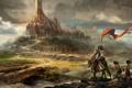 Картинка замок, воин, арт, всадник, крепость, рыцарь, рабы