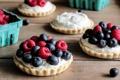 Картинка ягоды, малина, черника, крем, десерт, сладкое, тарталетки