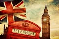 Картинка England, Big Ben, british flag, Лондон, Англия, London, telephone