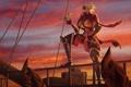Картинка закат, корабль, арт, пират, попугай, мужчина, подзорная труба