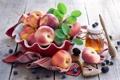 Картинка ягоды, мёд, персики