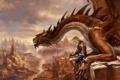 Картинка armor, dragon, lava, cliffs, reptile