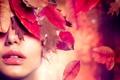 Картинка листья, девушка, лицо