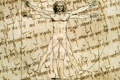 Картинка leonardo da vinci, human body, paper effect