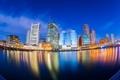 Картинка город, отражение, река, дома, вечер, Бостон, Boston skyline
