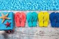 Картинка сланцы, очки, крем, вода, доски, полотенце, морская звезда