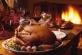 Картинка стол, огонь, вино, камин, индейка, фаршированная