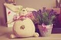 Картинка цветы, игрушка, заяц, горшок, бант