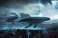 Картинка холмы, луна, лепестки, арт, полёт, киты