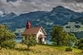 Картинка Alps, Lake Walensee, озеро Валензе, часовня, деревья, Chapel Vorderbethlis, Switzerland