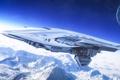 Картинка планета, арт, горы, снег, корабль, орбита