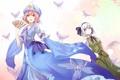 Картинка взгляд, бабочки, улыбка, девушки, веер, touhou, art