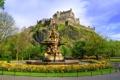 Картинка город, фото, замок, Шотландия, фонтан, Edinburgh, Ross fountain