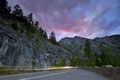 Картинка дорога, пейзаж, закат, след