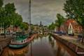 Картинка машины, река, HDR, кран, Нидерланды, набережная, Netherlands
