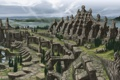 Картинка пейзаж, скалы, здания, дома, арки, реки, The Elder Scrolls V: Skyrim