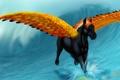 Картинка взгляд, вода, брызги, лошадь, крылья, арт, грива