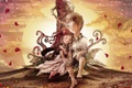 Картинка солнце, любовь, закат, цветы, дерево, завитки, мальчик