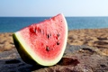 Картинка пляж, кусок, берег, water melon, ломтик, арбуз