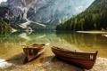 Картинка лес, горы, природа, озеро, берег, лодки