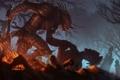 Картинка деревья, оружие, огонь, монстр, воин, арт, труп