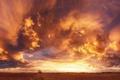 Картинка закат, облака, поле, небо