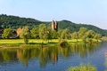 Картинка трава, деревья, река, холмы, берег, дома, Германия