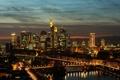 Картинка горизонт, ночью, Франкфурт, зеркало, Река Майн, Германия, отражение