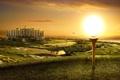 Картинка трава, солнце, здание, поля, озера, особняк, гольф