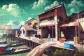 Картинка небо, девушка, облака, город, дома, лодки, аниме