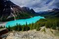 Картинка лес, облака, горы, озеро, скалы, Канада, Alberta