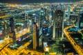 Картинка Дубай, Dubai, city lights, downtown, огни города, в центре города, night scene
