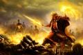 Картинка огонь, арт, маг, битва, Zsolt Kosa