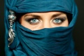 Картинка украшение, глаза, девушка, платок, взгляд