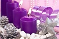 Картинка фиолетовый, креатив, звезда, серебро, свечи, блестки, серпантин