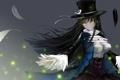 Картинка девушка, шляпа, аниме, перья, арт, mek