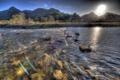 Картинка весна, река, солнце, поток, горы, камни