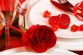 Картинка цветок, роза, свечи, бутон, бокалы, тарелка, красная